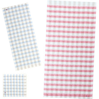 刺繍/今治タオル:刺し子ギンガム~サイズバリエーション
